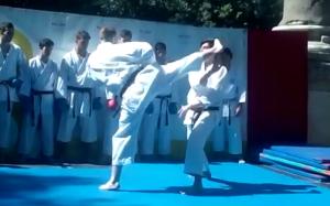 """Mawashi Geri realizado por el karateka de Kidokan Antonio Camacho durante la exhibición realizada en el escenario de """"vive la Alameda"""""""