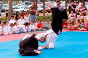Técnica de sacrificio (sutemi) realizada por Sensei Mario Ferrer como parte de la demostración de Jujutsu