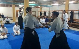 Sensei Pere soler ejecutando una técnica de Kenjutsu con Sensei Mario Ferrer
