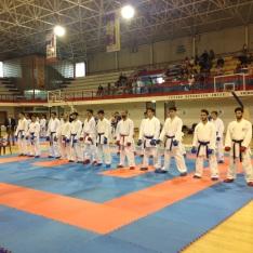 los competidores de la categoría Kumite Senior -75 kg. incluyendo a Aitor Gómez y Álvaro Redondo, a la postre Campeón