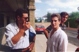 José Diego Santotoribio y Luis Carvajal visitando el CSDC Las Portadas, que años más tarde se convertiría en la sede definitiva del Club Kidokan en Dos Hermanas
