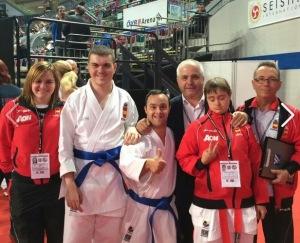 El Presidente de la RFEK jcon la selección de Karate Adaptado