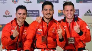 Equipo Español de Kata Campeón del Mundo, que tal vez pueda repetir el Tokio 2020 esta imagen con medallas olímpicas