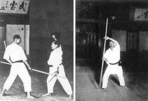 Hay constancia gráfica de que, como mínimo, Funakoshi Sensei practicaba bo y sai