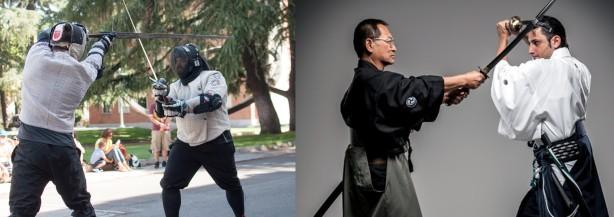 A la izquierda una escena de un duelo según la Verdadera Destreza. Y a la derecha técnicas de Kenjutsu.