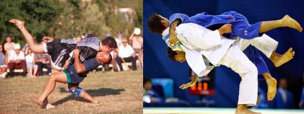 Las Luchas Tradicionales españolas tiene aspectos muy similares al Judo y al Sumo