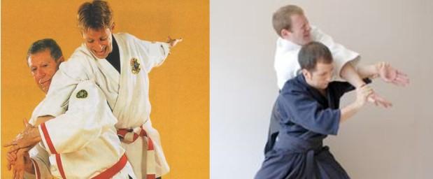 A la izquierda una técnica de yawara jitsu, similar a la de la derecha de jujutsu
